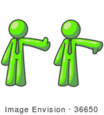 #36650 Clip Art Graphic Of A Lime Green Guy Character Giving The Thumbs Up And Down