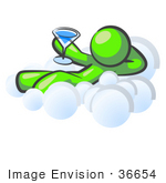 #36654 Clip Art Graphic Of A Lime Green Guy Character Drinking A Cocktail On A Cloud