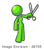 #36705 Clip Art Graphic Of A Lime Green Lady Character Holding Scissors