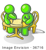 #36716 Clip Art Graphic Of Lime Green Guy Characters Discussing At A Table