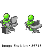 #36718 Clip Art Graphic Of Lime Green Guy Characters Using Computers