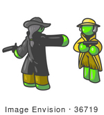 #36719 Clip Art Graphic Of Lime Green Guy Characters Dueling