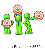 #36721 Clip Art Graphic Of Lime Green Guy Characters Holding Targets
