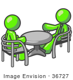 #36727 Clip Art Graphic Of Lime Green Guy Characters Sitting At A Table