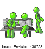 #36728 Clip Art Graphic Of Lime Green Guy Characters Waiting At A Bus Stop