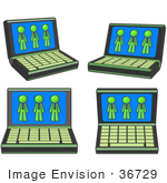 #36729 Clip Art Graphic Of Lime Green Guy Characters On Laptop Computer Screens