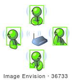 #36733 Clip Art Graphic Of Lime Green Guy Characters Having A Meeting With Bluetooth Headsets