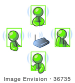 #36735 Clip Art Graphic Of Lime Green Guy Characters On Headsets Having A Meeting