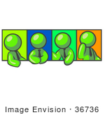#36736 Clip Art Graphic Of Lime Green Guy Characters Discussing In A Meeting