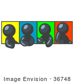 #36748 Clip Art Graphic Of Dark Blue Guy Characters With Colorful Backgrounds In Different Poses