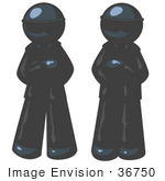 #36750 Clip Art Graphic Of Dark Blue Guy Characters Guarding An Entrance