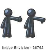 #36762 Clip Art Graphic Of Dark Blue Guy Characters Giving The Thumbs Up And Down