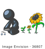 #36807 Clip Art Graphic Of A Dark Blue Guy Character Planting Sunflower Seeds