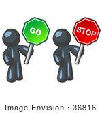#36816 Clip Art Graphic Of A Dark Blue Guy Character Holding A Go And Stop Sign