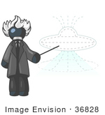 #36828 Clip Art Graphic Of A Dark Blue Guy Character As Albert Einstein Pointing To A Ufo