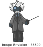 #36829 Clip Art Graphic Of A Dark Blue Guy Character As Albert Einstein