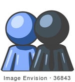 #36843 Clip Art Graphic Of A Dark Blue Guy Character With An Employee