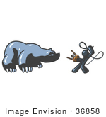 #36858 Clip Art Graphic Of A Dark Blue Guy Character Taming A Bear With A Whip