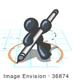 #36874 Clip Art Graphic Of A Dark Blue Guy Character Drawing A Circle On Graph Paper