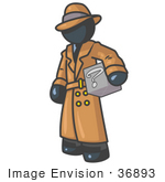#36893 Clip Art Graphic Of A Dark Blue Guy Character Investigator Carrying A Box Of Questions