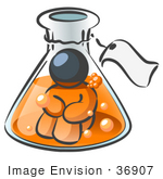 #36907 Clip Art Graphic Of A Dark Blue Guy Character In A Laboratory Flask