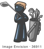 #36911 Clip Art Graphic Of A Dark Blue Guy Character Golfing