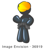 #36919 Clip Art Graphic Of A Dark Blue Guy Character Wearing A Hardhat And Tool Belt