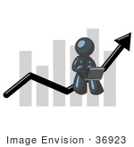 #36923 Clip Art Graphic Of A Dark Blue Guy Character Using A Laptop On A Bar Graph