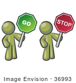#36993 Clip Art Graphic Of Olive Green Guy Characters Holding Go And Stop Signs