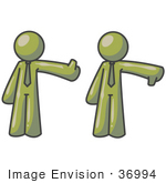 #36994 Clip Art Graphic Of Olive Green Guy Characters Giving The Thumbs Up And Down