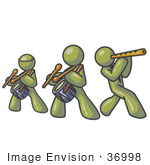 #36998 Clip Art Graphic Of Olive Green Guy Characters Playing Flutes And Drums In A Band