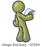 #37004 Clip Art Graphic Of An Olive Green Guy Character Reading A Letter