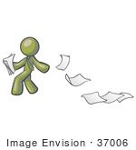 #37006 Clip Art Graphic Of An Olive Green Guy Character Dropping Papers