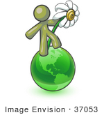 #37053 Clip Art Graphic Of An Olive Green Guy Character On A Globe With A Daisy