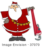 #37070 Clip Art Graphic Of Santa Posing With A Pipe Wrench