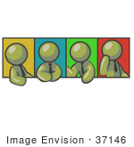 #37146 Clip Art Graphic Of Olive Green Guy Characters In Different Poses