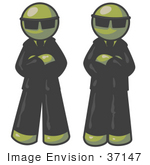 #37147 Clip Art Graphic Of Olive Green Guy Characters Guarding An Entrance