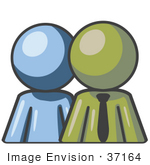 #37164 Clip Art Graphic Of An Olive Green Guy Character With A Blue Employee