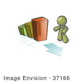 #37166 Clip Art Graphic Of An Olive Green Guy Character With A Bar Graph