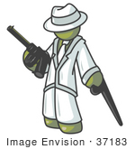 #37183 Clip Art Graphic Of An Olive Green Guy Character Holding A Gun