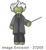 #37205 Clip Art Graphic Of An Olive Green Guy Character As Albert Einstein