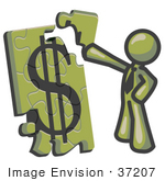 #37207 Clip Art Graphic Of An Olive Green Guy Character Assembling A Financial Puzzle