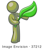 #37212 Clip Art Graphic Of An Olive Green Guy Character Holding A Green Leaf