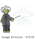 #37218 Clip Art Graphic Of An Olive Green Guy Character As Einstein Pointing To A Ufo