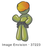 #37223 Clip Art Graphic Of An Olive Green Guy Character Wearing A Hardhat And Tool Belt
