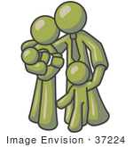 #37224 Clip Art Graphic Of An Olive Green Guy Character Family