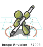 #37225 Clip Art Graphic Of An Olive Green Guy Character Drawing A Circle On Graph Paper