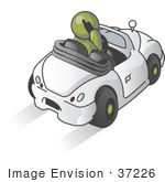 #37226 Clip Art Graphic Of An Olive Green Guy Character Talking On A Phone And Driving