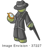 #37227 Clip Art Graphic Of An Olive Green Guy Character Checking A Pocket Watch
