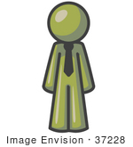 #37228 Clip Art Graphic Of An Olive Green Guy Character Wearing A Tie
